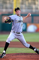 Danny Duffy #21 of the Omaha Storm Chasers pitches in a Pacific Coast League game against the Albuquerque Istotopes at Isotopes Park on May 3, 2011  in Albuquerque, New Mexico. .Photo by:  Bill Mitchell/Four Seam Images.