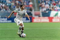 FOXBOROUGH, MA - JULY 25: Mathieu Choiniere #29 of CF Montreal looks to pass during a game between CF Montreal and New England Revolution at Gillette Stadium on July 25, 2021 in Foxborough, Massachusetts.