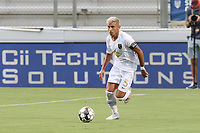 CARY, NC - AUGUST 01: Mikey Lopez #5 plays the ball during a game between Birmingham Legion FC and North Carolina FC at Sahlen's Stadium at WakeMed Soccer Park on August 01, 2020 in Cary, North Carolina.