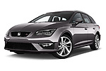 Stock pictures of low aggressive front three quarter view of 2017 Seat Leon-ST FR 5 Door Wagon Low Aggressive
