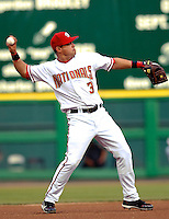 13 June 2006: Jose Vidro, second baseman for the Washington Nationals, takes a warm up toss moments prior to a game against the Colorado Rockies at RFK Stadium, in Washington, DC. The Rockies defeated the Nationals 9-2 in the second game of the four-game series...Mandatory Photo Credit: Ed Wolfstein Photo..