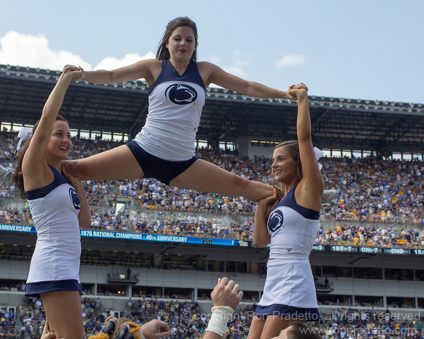 Penn State cheerleaders perform. The Pitt Panthers defeated the Penn State Nittany Lions 42-39 at Heinz Field, Pittsburgh, Pennsylvania on September 10, 2016.