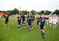 The WPS All Stars thank the fans after the WPS All Star match at Anheuser-Busch Soccer Park, in St. Louis, MO, June 7, 2009. The WPS All Stars won the match 4-2.