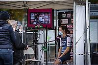 Elizabeth Deignan (GBR/Trek-Segafredo) post race interview<br /> <br />  4th Liège-Bastogne-Liège-Femmes 2020 (1.WWT)<br /> 1 Day Race: Bastogne – Liège 135km<br /> <br /> ©kramon