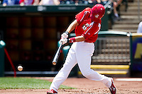 Eric Duncan (15) of the Springfield Cardinals hits a ground ball during a game against the San Antonio Missions on May 30, 2011 at Hammons Field in Springfield, Missouri.  Photo By David Welker/Four Seam Images