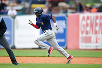 Cedar Rapids Kernels shortstop Nick Gordon (5) steals second during a game against the West Michigan Whitecaps on June 7, 2015 at Fifth Third Ballpark in Comstock Park, Michigan.  West Michigan defeated Cedar Rapids 6-2.  (Mike Janes/Four Seam Images)