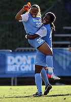 SAN DIEGO, CA - DECEMBER 02, 2012:  Meg Morris (32) and Satura Murray (44) of the University of North Carolina at the end of the NCAA 2012 women's college championship match, at Torero Stadium, in San Diego, CA, on Sunday, December 02 2012. Carolina won 4-1.