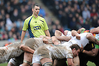 20130309 Copyright onEdition 2013©.Free for editorial use image, please credit: onEdition..Referee Leighton Hodges oversees a scrum during the LV= Cup semi final match between Harlequins and Bath Rugby at The Twickenham Stoop on Saturday 9th March 2013 (Photo by Rob Munro)..For press contacts contact: Sam Feasey at brandRapport on M: +44 (0)7717 757114 E: SFeasey@brand-rapport.com..If you require a higher resolution image or you have any other onEdition photographic enquiries, please contact onEdition on 0845 900 2 900 or email info@onEdition.com.This image is copyright onEdition 2013©..This image has been supplied by onEdition and must be credited onEdition. The author is asserting his full Moral rights in relation to the publication of this image. Rights for onward transmission of any image or file is not granted or implied. Changing or deleting Copyright information is illegal as specified in the Copyright, Design and Patents Act 1988. If you are in any way unsure of your right to publish this image please contact onEdition on 0845 900 2 900 or email info@onEdition.com
