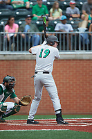 Tommy Lane (19) of the Marshall Thundering Herd at bat against the Charlotte 49ers at Hayes Stadium on April 23, 2016 in Charlotte, North Carolina. The Thundering Herd defeated the 49ers 10-5.  (Brian Westerholt/Four Seam Images)