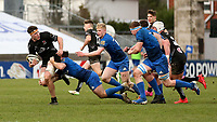 15 January 2021; David McCann is tackled by David Hawkshaw during the A Interprovincial match between Ulster and Leinster at Kingspan Stadium in Belfast. Photo by John Dickson/Dicksondigital