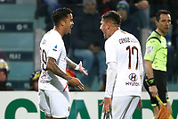 Justin Kluivert of AS Roma celebrates with Cengiz Under of AS Roma after scoring the goal 1-3 <br /> Cagliari 01/03/2020 Sardegna Arena <br /> Football Serie A 2019/2020 <br /> Cagliari Calcio - AS Roma    <br /> Photo Gino Mancini / Insidefoto