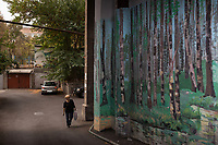 Armenia. Yerevan. Old buildings in the city center. An elderly woman carrying a plastic bag walks by a wall where a forest has been painted by a local artist. Grass, trunks  and trees. Yerevan, sometimes spelled Erevan, is the capital and largest city of Armenia. 9.10.2019 © 2019 Didier Ruef