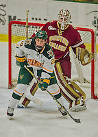 20 February 2016: University of Vermont Catamount Forward Brendan Bradley, a Junior from Warminster, PA, in third period action against the Boston College Eagles at Gutterson Fieldhouse in Burlington, Vermont. The Eagles defeated the Catamounts 4-1 in the second game of their weekend series. Mandatory Credit: Ed Wolfstein Photo *** RAW (NEF) Image File Available ***