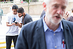 © Joel Goodman - 07973 332324 . 23/07/2016 . Salford , UK . Jeremy Corbyn after launching his campaign to be re-elected Labour Party leader , at the Lowry Theatre at Salford Quays . Photo credit : Joel Goodman