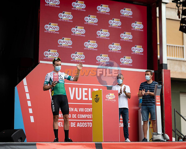 Aritz Bagües (ESP) Caja Rural-Seguros RGA most aggressive rider from yesterday's stage at sign on before the start of Stage 9 of La Vuelta d'Espana 2021, running 188km from Puerto Lumbreras to Alto de Velefique, Spain. 22nd August 2021.    <br /> Picture: Cxcling | Cyclefile<br /> <br /> All photos usage must carry mandatory copyright credit (© Cyclefile | Cxcling)