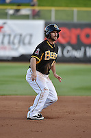 Drew Heid (4) of the Salt Lake Bees takes his lead off of second base against the Las Vegas 51s at Smith's Ballpark on May 8, 2014 in Salt Lake City, Utah.  (Stephen Smith/Four Seam Images)
