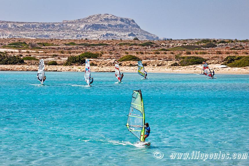 Windsurfers in Makrys Gialos of Karpathos, Greece