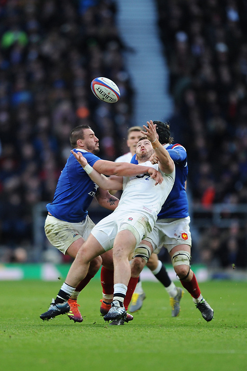 Luke Cowan-Dickie of England battles with Louis Picamoles and Sébastien Vahaamahina of France during the Guinness Six Nations match between England and France at Twickenham Stadium on Sunday 10th February 2019 (Photo by Rob Munro/Stewart Communications)
