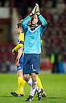 Hearts v St Johnstone...03.12.11   SPL .Peter Enckelman applauds the fans at full time.Picture by Graeme Hart..Copyright Perthshire Picture Agency.Tel: 01738 623350  Mobile: 07990 594431