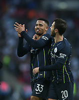 Manchester City's Gabriel Jesus and Bernardo Silva celebrate at the end of the game<br /> <br /> Photographer Rob Newell/CameraSport<br /> <br /> Emirates FA Cup Semi-Final - Manchester City v Brighton & Hove Allbion - Saturday 6th April 2019 - Wembley Stadium - London<br />  <br /> World Copyright © 2019 CameraSport. All rights reserved. 43 Linden Ave. Countesthorpe. Leicester. England. LE8 5PG - Tel: +44 (0) 116 277 4147 - admin@camerasport.com - www.camerasport.com
