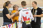 MILTON, ON, AUGUST 11, 2015. Cycling at the Velodrome. Canadian Mike Sametz (C-3M) is interviewed following his heat taht put him into the gold medal final. Sametz won the silver medal.<br /> Photo: Dan Galbraith/Canadian Paralympic Committee