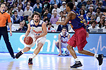 Real Madrid's Sergio Llull and FC Barcelona Lassa's Alex Renfroe during Liga Endesa match between Real Madrid and FC Barcelona Lassa at Wizink Center in Madrid, Spain. March 12, 2017. (ALTERPHOTOS/BorjaB.Hojas)