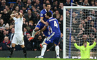 LONDON, ENGLAND - FEBRUARY 25: Pedro of Chelsea celebrates scoring his sides second goal of the match during the Barclays Premier League match between Chelsea and Swansea City at Stamford Bridge on February 25, 2017 in London, England. (Photo by Athena Pictures/Getty Images)