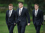 Lee McCulloch leads the first team Rangers squad into the crematorium for Sandy Jardine's memorial service