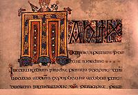 Visual Arts:  Book of  Kells--Illuminated manuscript, Gospel Book in Latin.   On permanent display at the Trinity College Library, Dublin.  Photo '84.