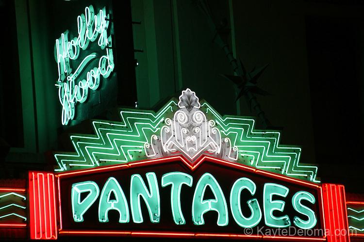 Pantages Theatre neon sign, Los Angeles, CA