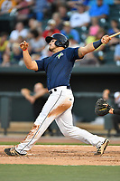 Catcher Brandon Brosher (25) of the Columbia Fireflies bats in a game against the West Virginia Power on Friday, May 19, 2017, at Spirit Communications Park in Columbia, South Carolina. West Virginia won, 3-1. (Tom Priddy/Four Seam Images)