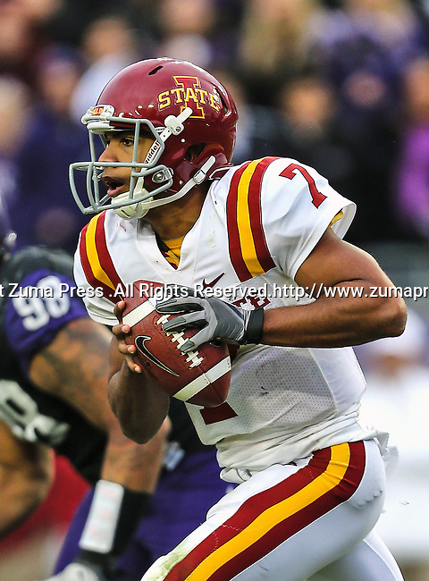 Iowa State Cyclones quarterback Jared Barnett (7) in action during the game between the Iowa State Cyclones and the TCU Horned Frogs  at the Amon G. Carter Stadium in Fort Worth, Texas. Iowa State defeats TCU 37 to 23..
