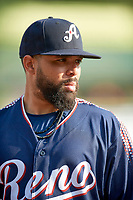 Michael De La Cruz (16) of the Reno Aces before the game against the Salt Lake Bees at Smith's Ballpark on August 24, 2021 in Salt Lake City, Utah. The Aces defeated the Bees 6-5. (Stephen Smith/Four Seam Images)