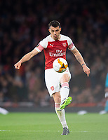 Arsenal's Granit Xhaka during the UEFA Europa League Semi-Final 1st leg match between Arsenal and Valencia at the Emirates Stadium, London, England on 2 May 2019. Photo by Andrew Aleksiejczuk / PRiME Media Images.