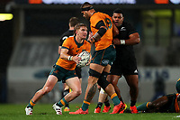 Australia's Tate McDermott looks to pass during the Bledisloe Cup rugby match between the New Zealand All Blacks and Australia Wallabies at Eden Park in Auckland, New Zealand on Saturday, 14 August 2021. Photo: Simon Watts / lintottphoto.co.nz / bwmedia.co.nz