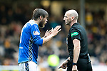 Motherwell v St Johnstone…20.10.18…   Fir Park    SPFL<br />Murray Davidson pleads with referee Bobby Madden<br />Picture by Graeme Hart. <br />Copyright Perthshire Picture Agency<br />Tel: 01738 623350  Mobile: 07990 594431