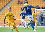 St Johnstone v Livingston….10.08.19      McDiarmid Park     SPFL <br />Richard Foster gets to the ball ahead of Craig Sibbald<br />Picture by Graeme Hart. <br />Copyright Perthshire Picture Agency<br />Tel: 01738 623350  Mobile: 07990 594431