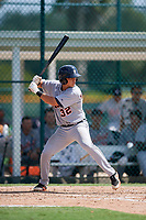 Detroit Tigers Sam McMillan (32) at bat during a Florida Instructional League game against the Pittsburgh Pirates on October 2, 2018 at the Pirate City in Bradenton, Florida.  (Mike Janes/Four Seam Images)