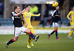 Dundee v St Johnstone….31.12.16     Dens Park    SPFL<br />Paul McGowan and Danny Swanson<br />Picture by Graeme Hart.<br />Copyright Perthshire Picture Agency<br />Tel: 01738 623350  Mobile: 07990 594431
