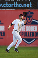 Connecticut Tigers outfielder Tanner Donnels (22) catches a fly ball during the first game of a doubleheader against the Brooklyn Cyclones on September 2, 2015 at Senator Thomas J. Dodd Memorial Stadium in Norwich, Connecticut.  Brooklyn defeated Connecticut 7-1.  (Mike Janes/Four Seam Images)