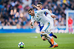 Theo Hernandez (L) of Real Madrid battles for the ball with Daniel Alejandro Torres Rojas, D Torres, of Deportivo Alaves during the La Liga 2017-18 match between Real Madrid and Deportivo Alaves at Santiago Bernabeu Stadium on February 24 2018 in Madrid, Spain. Photo by Diego Souto / Power Sport Images