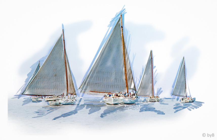 """Rendition of race start from the  Fine Art Limited Edition """"Skipjack Sunday"""" collection.<br /> For close up detail: http://www.petersongallery.com/image/I0000lfkJjfv4SDo"""