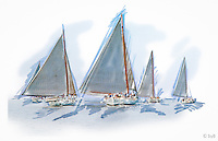 "Rendition of race start from the  Fine Art Limited Edition ""Skipjack Sunday"" collection.<br />