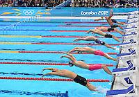 August 01, 2012..LtoR: Kazuki Watanabe, Peter Bernek, Gabor Balog, Tyler Clary, Fenglin Zhang, Nick Driebergen, Tobias Oriwol, Omar, Pinzon Garcia, compete in Men's 200m Backstroke Semifinal at the Aquatics Center on day five of 2012 Olympic Games in London, United Kingdom.