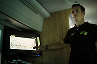 A rider at the highest level himself only a few months earlier, Matthew Hayman now takes on the role of Sports Director with his team Mitchelton-Scott<br /> <br /> Stage 6: Cassino to San Giovanni Rotondo (233km)<br /> 102nd Giro d'Italia 2019<br /> <br /> ©kramon