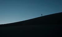 Walking the dunes in Death Valley.