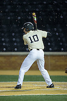 Zach Seal (10) of the Wake Forest Demon Deacons at bat against the Davidson Wildcats at David F. Couch Ballpark on February 28, 2017 in Winston-Salem, North Carolina.  The Demon Deacons defeated the Wildcats 13-5.  (Brian Westerholt/Four Seam Images)