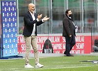 Milano  18-04-2021<br /> Stadio Giuseppe Meazza<br /> Serie A  Tim 2020/21<br /> Milan Genoa<br /> Nella foto:  Stefano Pioli Allenatore Milan                                    <br /> Antonio Saia Kines Milano