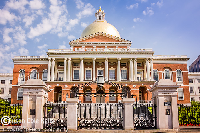 The Massachusetts State House, a site on the Freedom Trail, in the Boston National Historical Park in Boston, MA