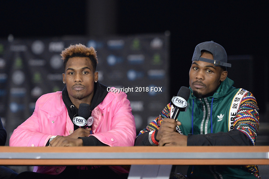 BROOKLYN, NY - DECEMBER 20: Boxers Jermall Charlo and Jermell Charlo being interviewed as they attend the Premier Boxing Champions press conference for the December 22 Fox PBC Fight Night at the Barclay Center on December 20, 2018 in Brooklyn, New York. (Photo by Anthony Behar/Fox Sports/PictureGroup)